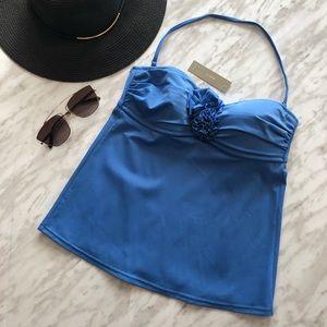 NWT J Crew Blue Bandeau Tank Bikini Top Size XS